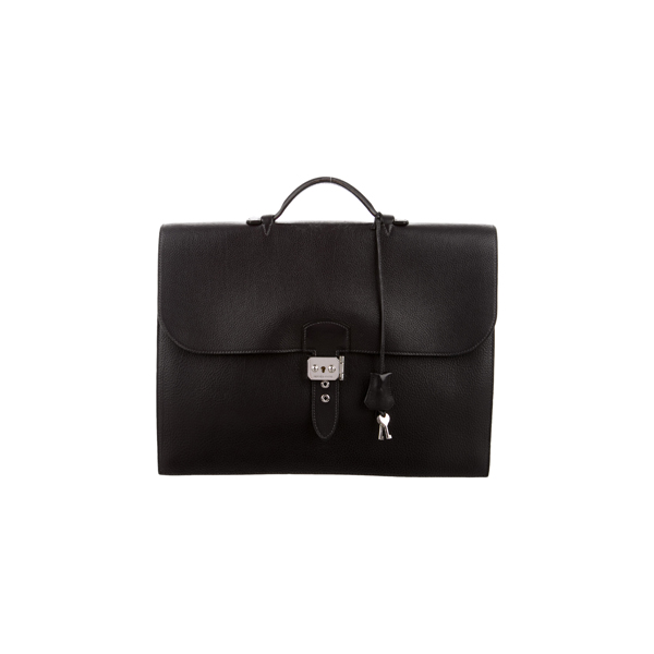 Cheap Hermes Women Black FJORD SAC A DEPECHES BRIEFCASE Online
