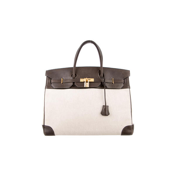 Cheap Hermes Women Natural TOILE BIRKIN 40 Online