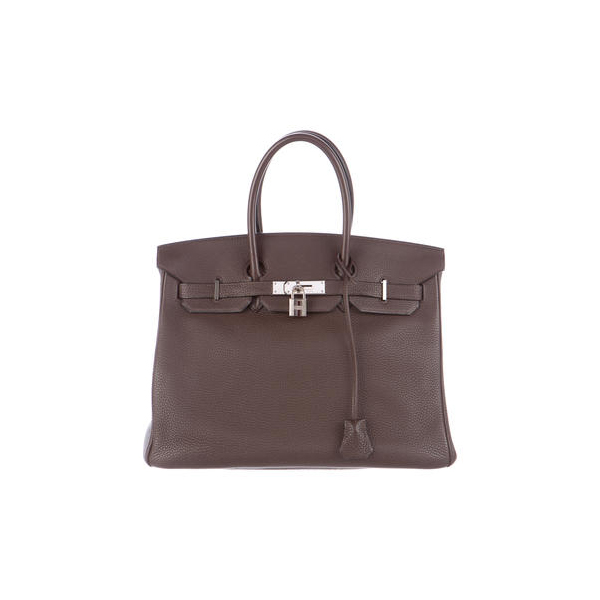 Cheap Hermes Women Chocolate CLEMENCE BIRKIN 35 Online