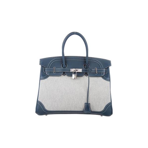Cheap Hermes Women Bleu de Prusse SWIFT GHILLIES BIRKIN 35 Online
