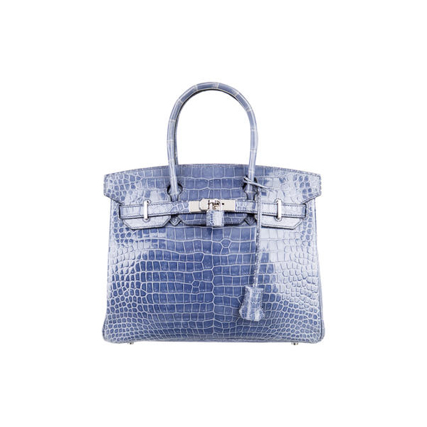 Cheap Hermes Women Blue Brighton POROSUS CROCODILE BIRKIN 30 Online