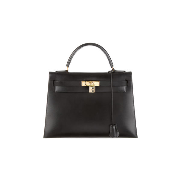 Cheap Hermes Women Black BOX KELLY SELLIER 32 Online
