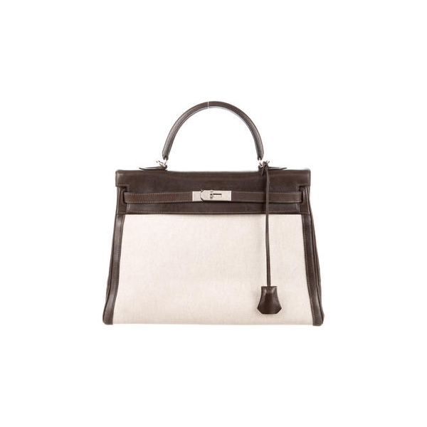 Cheap Hermes Women Natural TOILE KELLY RETOURNE 35 Online
