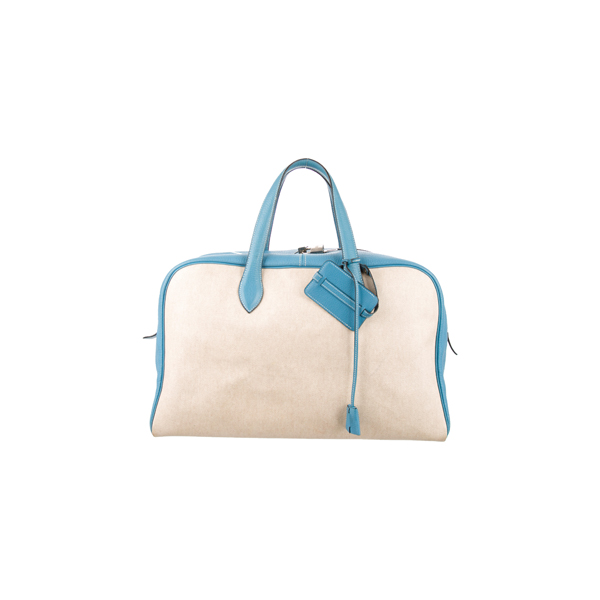 Cheap Hermes Women Blue and Neutrals VICTORIA 45 Online