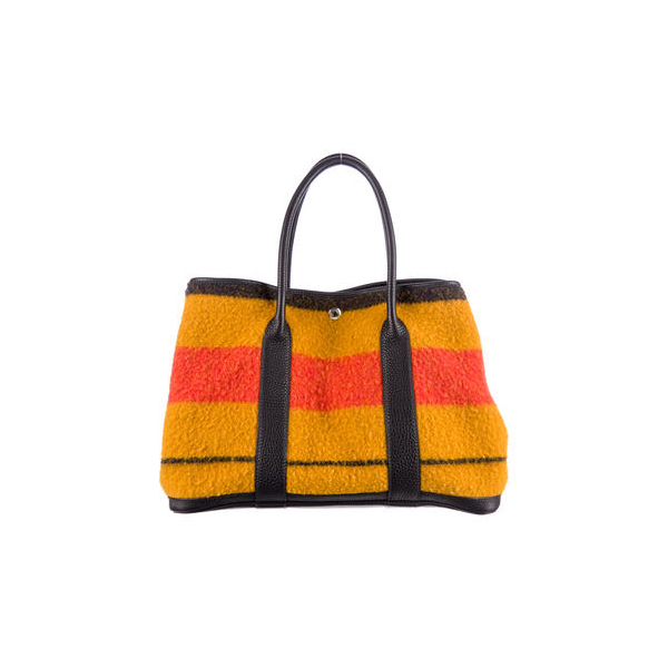 Cheap Hermes Women Orange and persimmon and black WOOL GARDEN PARTY MM Online
