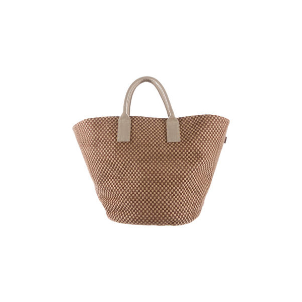 Cheap Hermes Women Brown and beige BASKET WEAVE TOTE Online