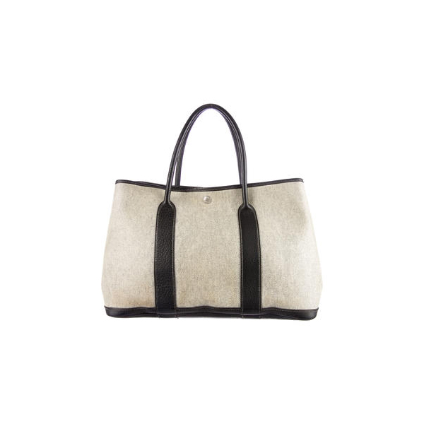 Cheap Hermes Women Black and creme GARDEN PARTY MM Online